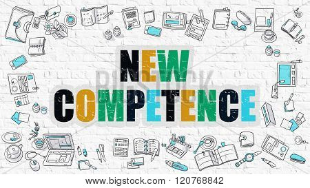 New Competence on White Brick Wall.