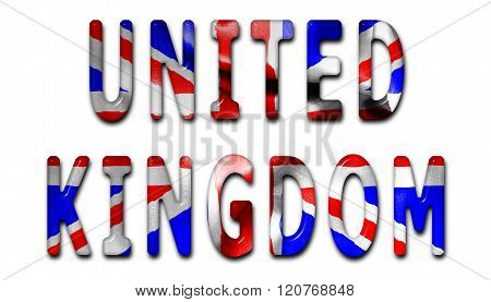 United Kingdom Word With Flag Texture