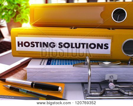 Yellow Ring Binder with Inscription Hosting Solutions.