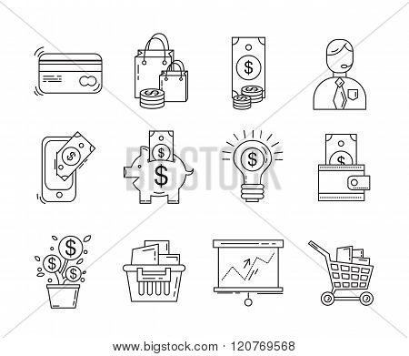 Vector set of business and finance icons