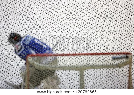 Ice Hockey Goalkeeper In The Gates