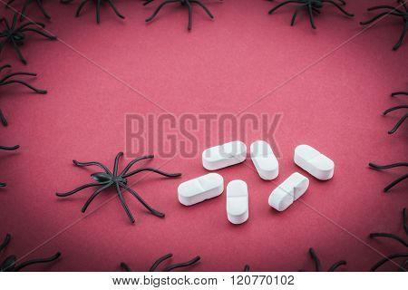 Spiders Around Capsules, Concept Phobia To Medicines