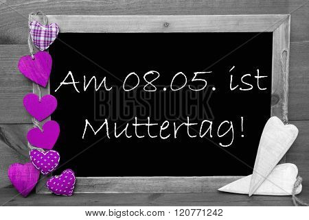 Black And White Blackbord, Purple Hearts, Muttertag Means Mothers Day