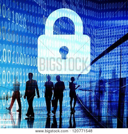 Business People Binary Code Lock Security Concept