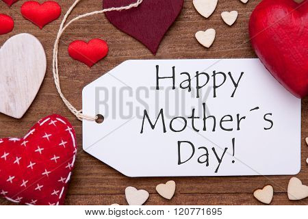 One Label, Red Hearts, Happy Mothers Day, Macro