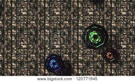 Satellite View Of Ufo Invasion Over Suburban Area