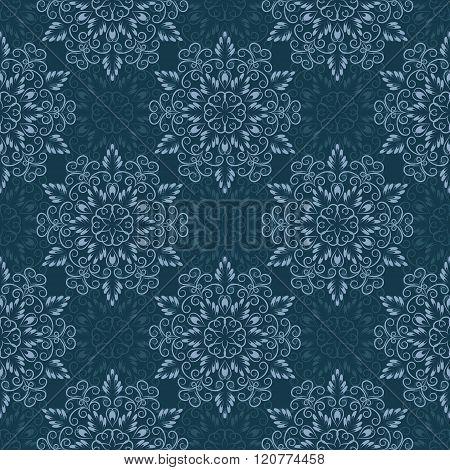 Vector Seamless Mandala Pattern over blue