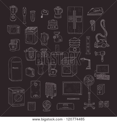 Set of cute hand drawn house appliances. Vector appliances collection