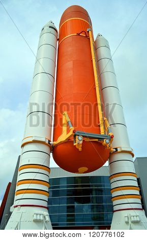 Space Shuttle Solid Rocket Boosters and External Tank on display at Kennedy Space Center