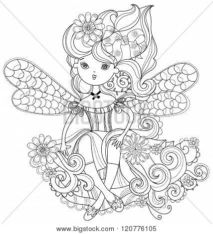 Vector cute fairy girl in flowers doodle