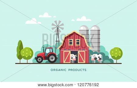 Farming Farm with Barn Windmill Tractor and Cows Organic Products Farm Fresh Products