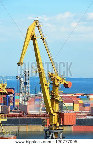 Port Cargo Crane And Ship