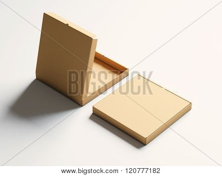 Photo blank craft paper open pizza box on white background. Horizontal mockup. 3d render