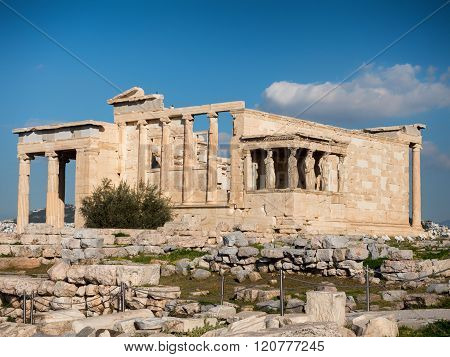 Erexthion Temple In Acropolis Hill In Athens
