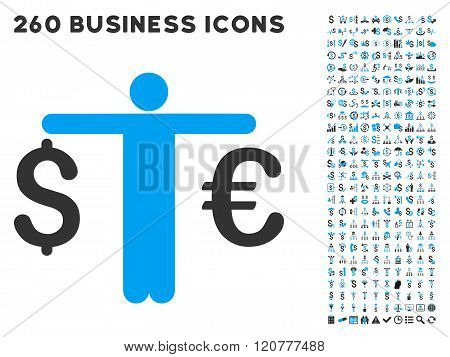 Person Compare Euro Dollar Icon with Flat Vector Set