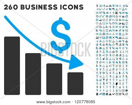 Recession Icon with Flat Vector Set