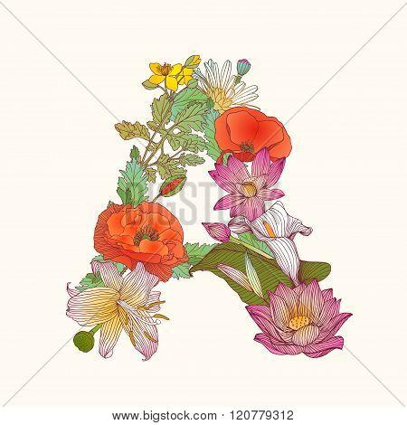 Floral Alphabet. Letter A