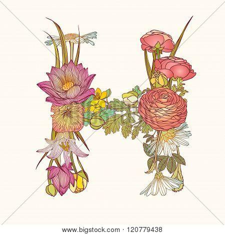 Floral Alphabet. Letter H