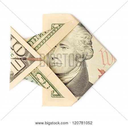 Ten Dollars Origami Fish Isolated