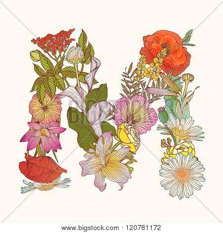 Floral Alphabet. Letter N