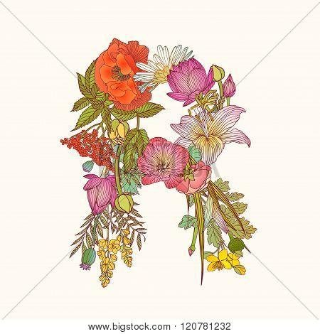 Floral Alphabet. Letter R