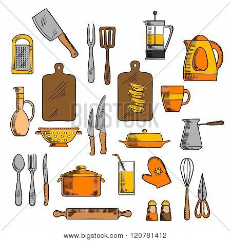 Kitchenware and kitchen utensil icons