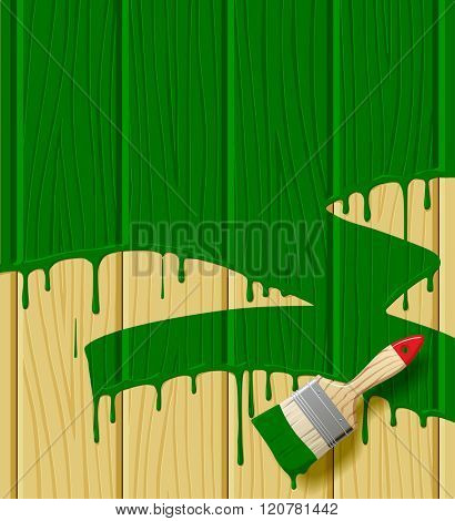 Wood boards painted in green color with a paint brush. Vector illustration