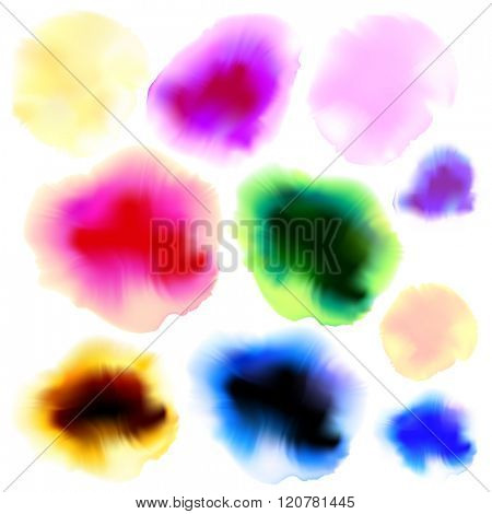Full color ink and watercolor blots set. Vector illustration