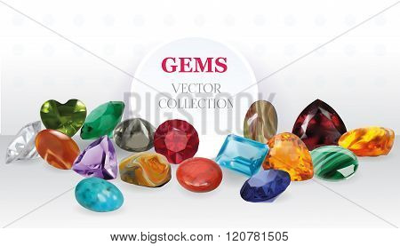 Vector Realistic Gems Jewerly Stones Big Collection Composition On White Background