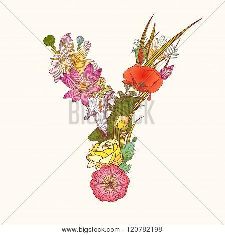 Floral Alphabet. Letter Y