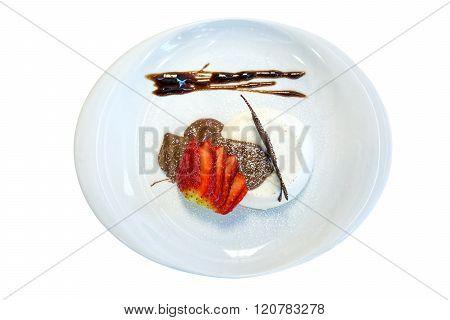 mascarpone with chocolate and strawberry on white background