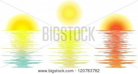 vector set sunrise, daylight, sunset