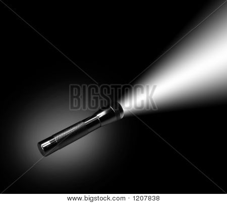 Aluminum Flashlight In Night