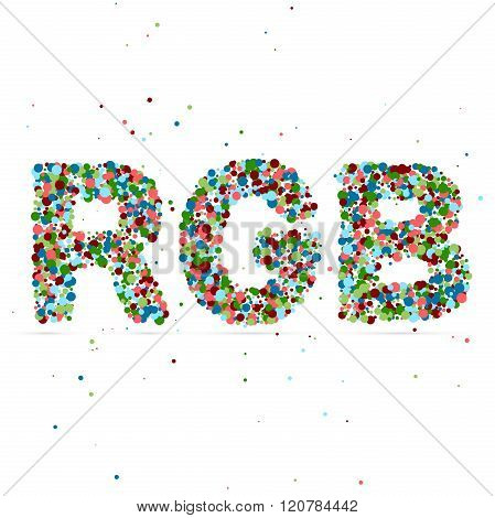 RGB word consisting of colored particles