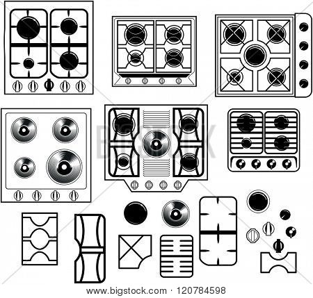 Top view of a set of six hob equipment with the elements to recreate your own personal hob