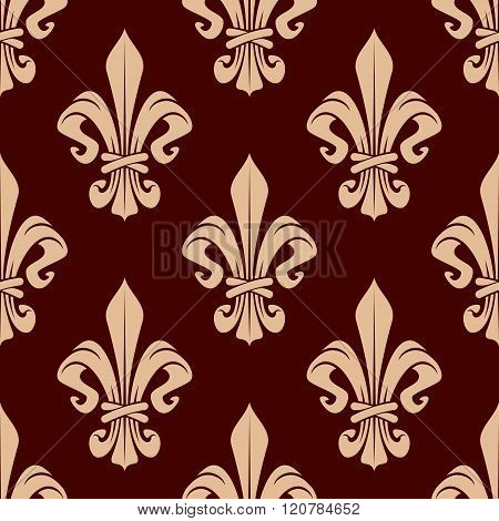 Brown and beige lilies seamless pattern