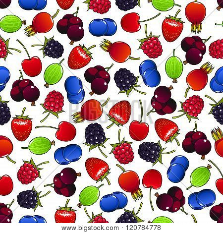 Colorful seamless pattern with sweet berries