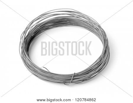 Steel wire coil isolated on white background.