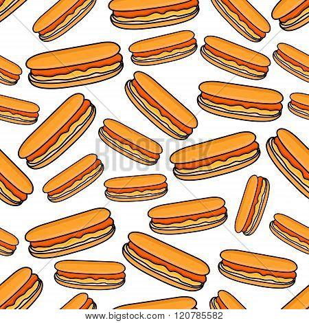 Seamless pattern of hot dogs