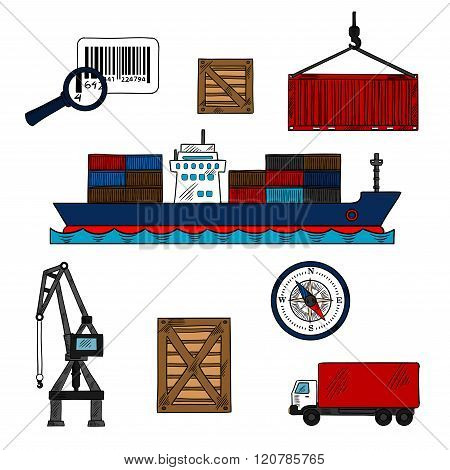 Shipping and delivery industry icons