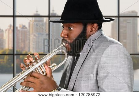 Reggae trumpeter's midday performance.