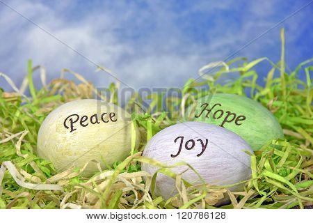 inspirational words on Easter eggs