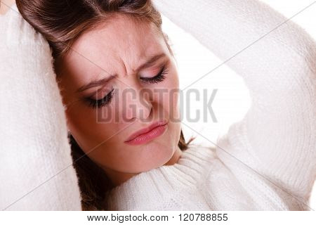 Woman Pulls Hair With Depression.