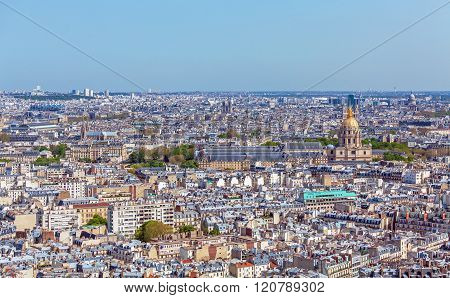 Aerial View Of Paris Skyline From Eiffel Tower