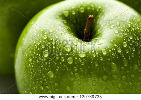 apple in green with water drops on its surface