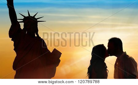 Backlit Loving Couple Honeymoon In New York