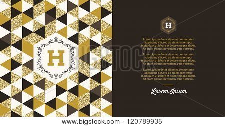 Template vector  design with Monogram logo and glitter gold elements. Template design for invitation, greeting card, cover, page, brochure, booklet etc.