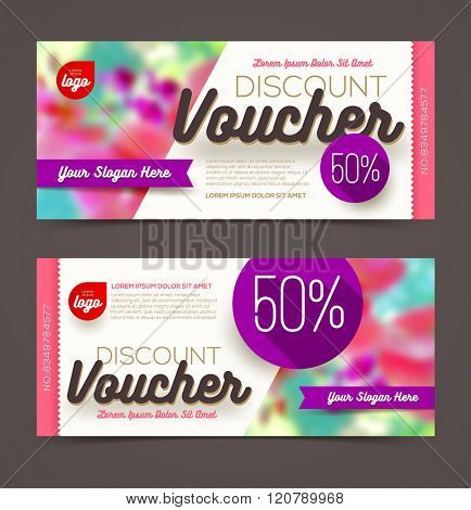 Discount voucher template - multicolor bright design, Vector illustration, Design for  invitation, certificate, gift coupon, ticket, voucher, diploma etc.
