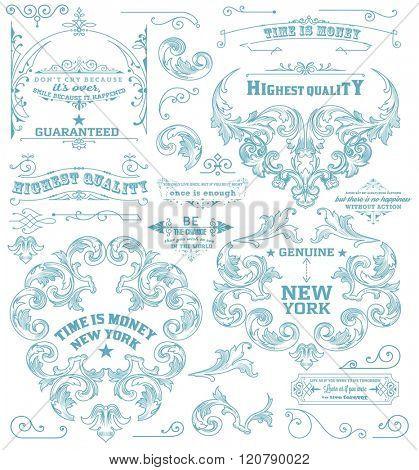Set of retro elements: baroque frames, retro labels. Chalk style