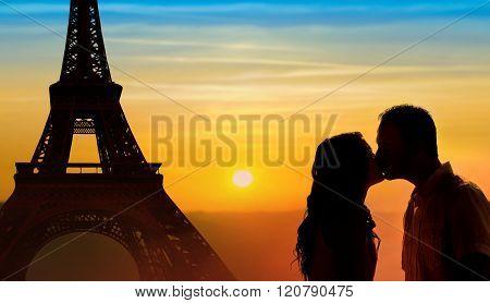 Backlit Loving Couple Honeymoon In Paris